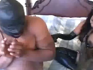 Porn Tube of Ebony Latex Slut Sucking And Handjob