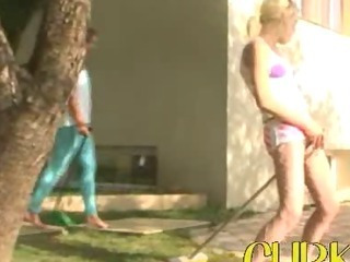 Porno Video of Sweet Babysitters Flashing The Village
