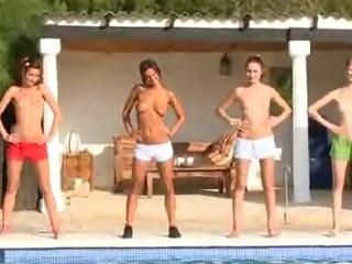 Porn Tube of Six Naked Teens By The Pool From Russia