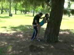 Amateur fucked up against a tree in park