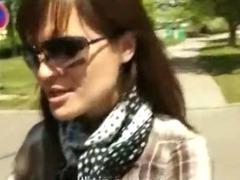 Lovely huge boobs bombshell gets fucked a lucky stranger in public for cash