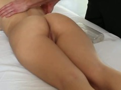 Hot Blonde Amateur Rubbed Down On A Massage Table