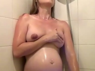 Porno Video of Preggo Horny Amateur Solo Shower