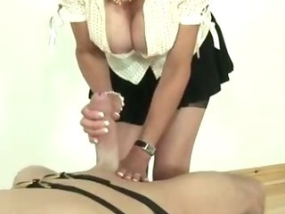 Porn Tube of Mature Femdom Fetish Slut Giving Oily Handjob