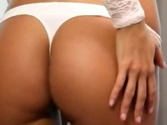 Beautiful blonde babe Lola Myluv fondles her shaved pussy