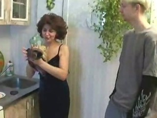 Porn Tube of Russian Mom And Son Playing In Kitchen