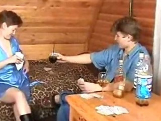 Porn Tube of Russian Mom And Boy Playing Strip-poker