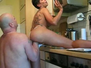 Porn Tube of Fisting My Wifes Huge Pussy In The Kitchen