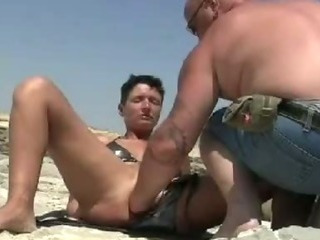 Sex Movie of Shameless Amateur Fisted On A Public Beach And At Home