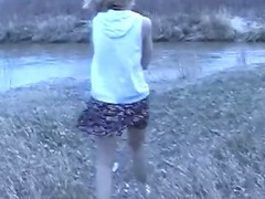 Kayla and Ben pull over for a fuck in nature