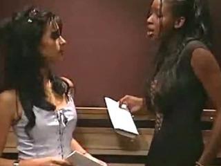 Porn Tube of Interracial Lesbian Sex In Elevator