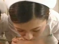 Japanese nurses give blowjob tit lick and deep kiss