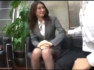 Porno Video of Busty Office Lady In Pantyhose Getting Her Pussy Rubbed Giving Blowjob For Guy On The Floor In The O