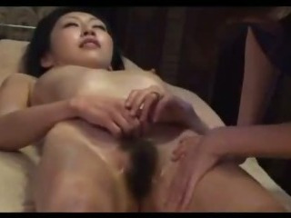 Porn Tube of Asian Girl Getting Her Nipples Sucked Hairy Pussy Fingered By The Masseuse On The Massage Bed