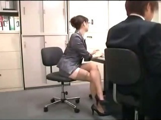 Porn Tube of Office Lady With Glasses Getting Her Hairy Pussy Licked By Her Colleauge While Standing In The Offic