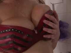 Busty plumper from GirlsOutWest testing her toys