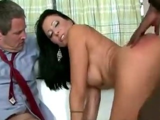 Porn Tube of Gorgeous Brunette Housewife Pumped In Front Of Husband By Black