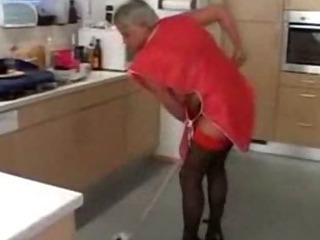 Porno Video of Grey Haired Granny In Red Top Stockings Cleans Up