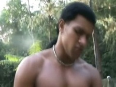 Hunky Beefy Latino Have Romantic Sex In the Forest