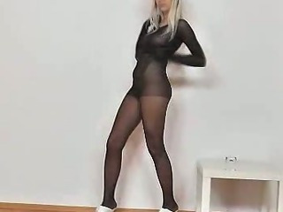 Porno Video of Nathaly Nylon Suit And Mask