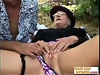 Sex Movie of Granny Kathy Gets Fucked In The Woods Like A Whore