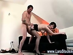 Tight girlfriend jammed on a glass table