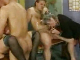 Porn Tube of Granny Group Sex In Stockings