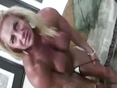 Horny female busty bodybuilder gets naked