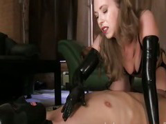 latex milf in boots and gloves teasing handjob