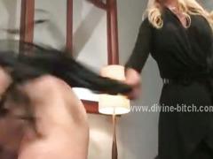 Blonde divine bitch and male sex slave
