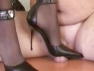 Porn Tube of Mistress Tugce Doing Heeljob And Heel Insertion On A Slave With Cock Trampling