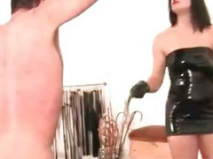 Useless slave gets a creul cbt and whipping