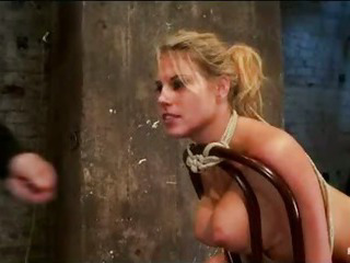 Porno Video of Busty Bound Blonde Clit Vibed And Ass Caned