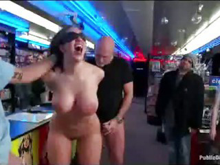 Porno Video of Bound Busty Babe Anal Fisted In Porn Store