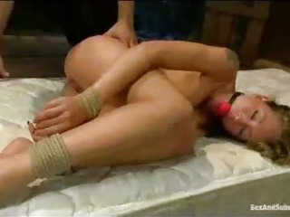 Porno Video of Natural Busty Bound Babe Fucked On Mattress