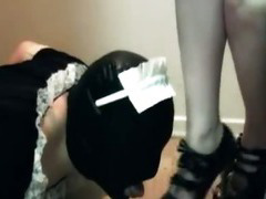 Femdom Foot Worship with Sissy Slave