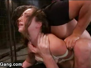 Porno Video of Tied Up Chestnut Babe Double Penetrated