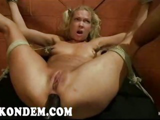 Porn Tube of Hogtied Blonde Anal Insertion