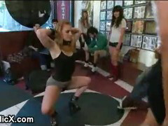 Blindfolded babe fucked in local tattoo shop by total strangers