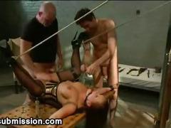 Busty bound babe anal gangbanged
