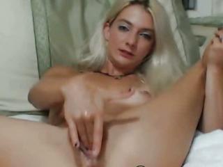 Porno Video of Blonde Babe Masturbating Her Tight Pussy