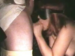 Naughty slut wife gangbanged in Adult Theater