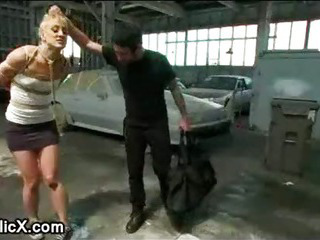 Porn Tube of Bdsm Blonde Spanked And Fucked In Auto Repair Shop