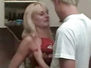 Sex Movie of Blonde Mom And Son At Kitchen