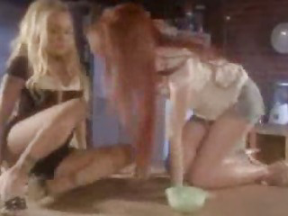 Porno Video of Redhead And Blonde Kitchen Scene
