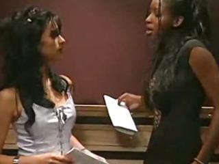 Porno Video of Interactial Lesbian Sex In Public Lift