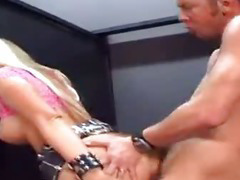 Blonde whore sucks mad cock in public washroom!