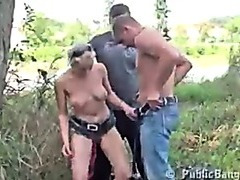 Public threesome sex at a river bank