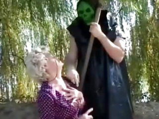 Porno Video of Granny Gets A  Lesson From Masked Man