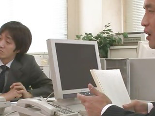 Porn Tube of Two Guys Fuck And Creampie Aiko Hirose At The Office